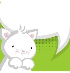 White cute little kitty green backdrop vector image