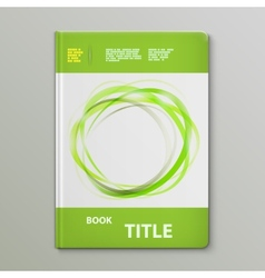 Abstract Green Rings Book Template vector image