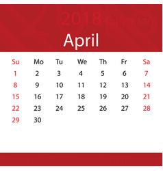 april 2018 calendar popular red premium for vector image