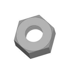 iron nut isolated metal female screw on white vector image