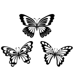Set black white butterflies of a tattoo vector image vector image