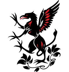 Standing Black Griffin with flower vector image