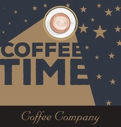 Vintage coffee time background vector image vector image