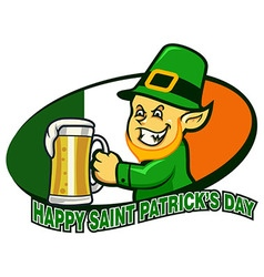 Leprechaun Hold Beer vector image