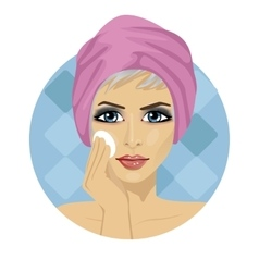 woman cleaning her face with sponge vector image vector image