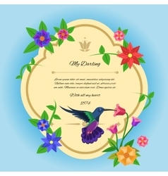 Bird And Flowers Postcard vector image