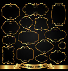 golden frames in retro style vector image