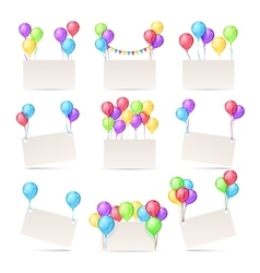 Greeting cards templates with color balloons and vector image vector image