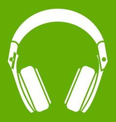 headphones icon green vector image vector image