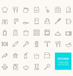 Kitchen Outline Icons for web and mobile apps vector image vector image