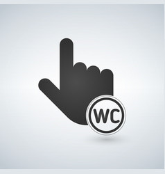 pointing hand with wc sign in circle isolated icon vector image