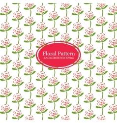 Rose flowers line pattern vector image vector image