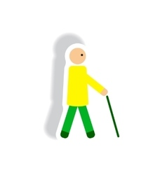 stylish icon in paper sticker style man with stick vector image vector image