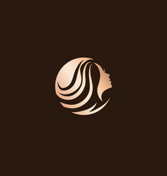 woman beauty hair salon logo design vector image vector image