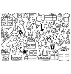 0087 hand drawn party doodle happy birthday vector