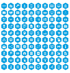 100 database icons set blue vector image