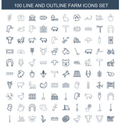 100 farm icons vector