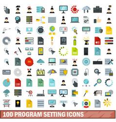 100 program setting icons set flat style vector image