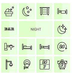 14 night icons vector