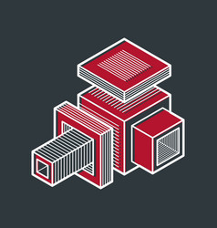 3d engineering abstract shape made using cubes vector