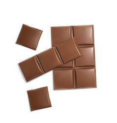 3d realistic brown chocolate bars pieces vector image