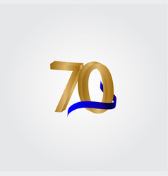 70 years anniversary celebration number gold vector