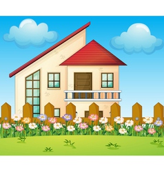 A big house inside the fence vector