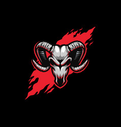 abstract skull goat concept design vector image