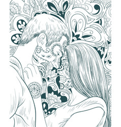 adult coloring bookpage a pair people in love on vector image