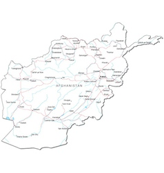 Afghanistan Black White Map vector image