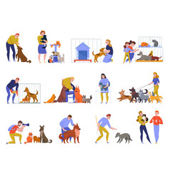 Animal shelter people set vector