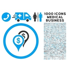 Bank Places Icon with 1000 Medical Business vector image
