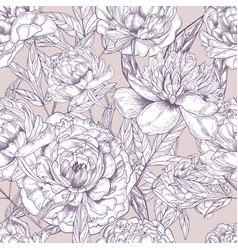 beautiful detailed peonies seamless pattern hand vector image