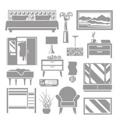 Bedroom Furniture Grey Set vector