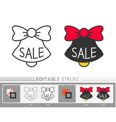 bell jingle sale ring linear icon editable stroke vector image