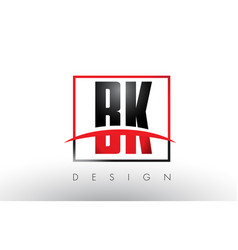 Bk b k logo letters with red and black colors and vector