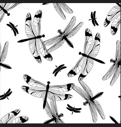 Black and white dragonfly seamless pattern vector