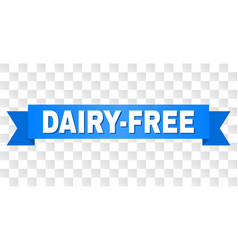 Blue ribbon with dairy-free text vector