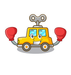 Boxing character clockwork car for toy children vector
