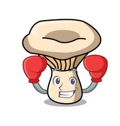 Boxing milk mushroom character cartoon vector