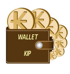 Brown wallet with kip coins vector