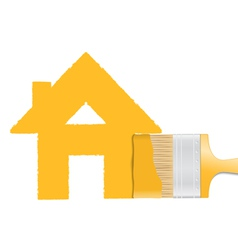 Brush painting house vector image