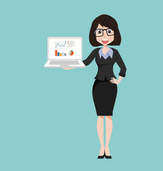 businesswoman character with notebook vector image