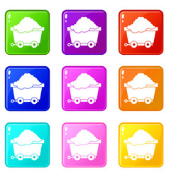 cart on wheels with coal set 9 vector image