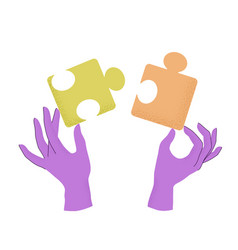 cartoon human hands holding puzzle pieces vector image