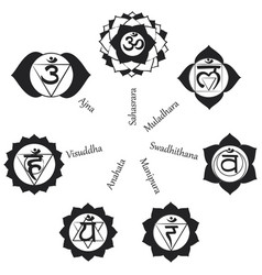 Chakras icons concept used in hinduis vector