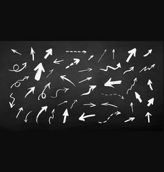 chalked set hand drawn grunge arrows vector image