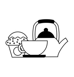 coffee maker cup and cupcake vector image