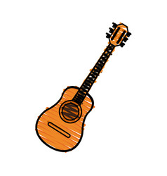 Color crayon stripe acoustic guitar musical vector