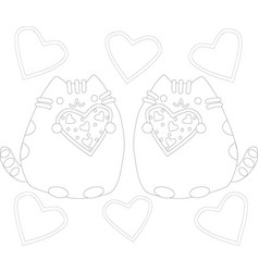 coloring page outline of cartoon fluffy cat vector image